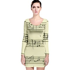 Music Notes On A Color Background Long Sleeve Velvet Bodycon Dress