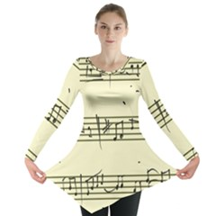 Music Notes On A Color Background Long Sleeve Tunic