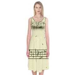 Music Notes On A Color Background Midi Sleeveless Dress