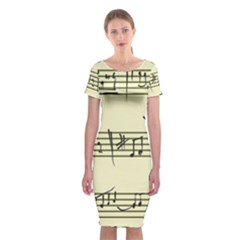 Music Notes On A Color Background Classic Short Sleeve Midi Dress