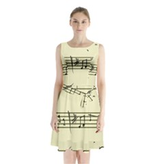 Music Notes On A Color Background Sleeveless Chiffon Waist Tie Dress