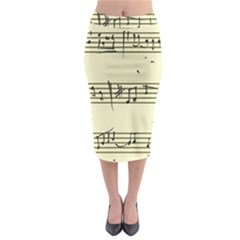Music Notes On A Color Background Midi Pencil Skirt