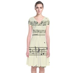 Music Notes On A Color Background Short Sleeve Front Wrap Dress