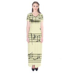 Music Notes On A Color Background Short Sleeve Maxi Dress