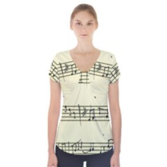 Music Notes On A Color Background Short Sleeve Front Detail Top