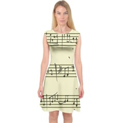 Music Notes On A Color Background Capsleeve Midi Dress