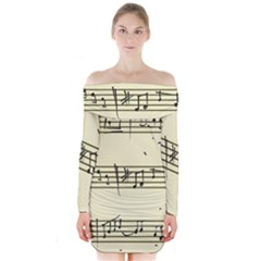 Music Notes On A Color Background Long Sleeve Off Shoulder Dress
