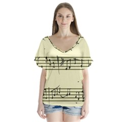 Music Notes On A Color Background Flutter Sleeve Top