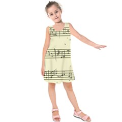Music Notes On A Color Background Kids  Sleeveless Dress