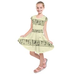 Music Notes On A Color Background Kids  Short Sleeve Dress
