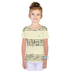 Music Notes On A Color Background Kids  One Piece Tee