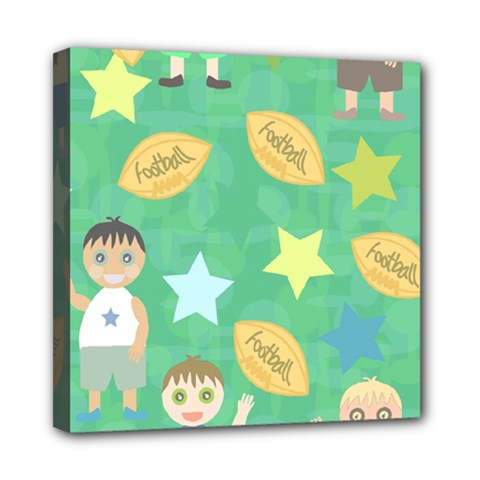 Football Kids Children Pattern Mini Canvas 8  x 8