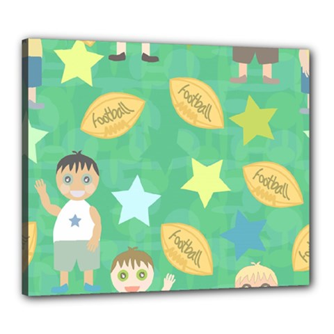 Football Kids Children Pattern Canvas 24  x 20
