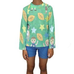 Football Kids Children Pattern Kids  Long Sleeve Swimwear