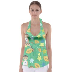 Football Kids Children Pattern Babydoll Tankini Top