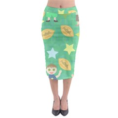 Football Kids Children Pattern Midi Pencil Skirt