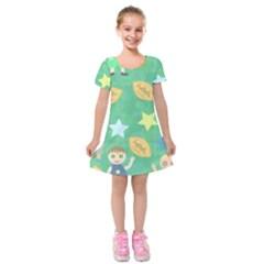 Football Kids Children Pattern Kids  Short Sleeve Velvet Dress