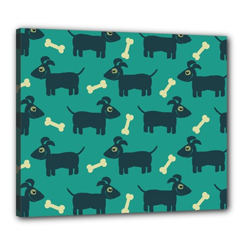 Happy Dogs Animals Pattern Canvas 24  x 20