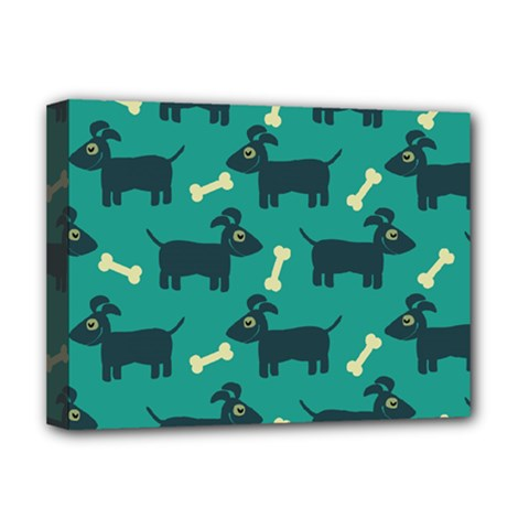 Happy Dogs Animals Pattern Deluxe Canvas 16  x 12