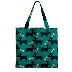Happy Dogs Animals Pattern Zipper Grocery Tote Bag