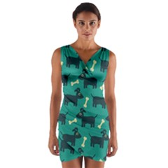Happy Dogs Animals Pattern Wrap Front Bodycon Dress