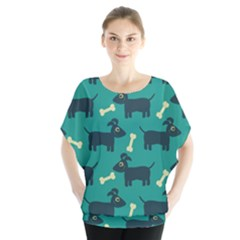 Happy Dogs Animals Pattern Blouse