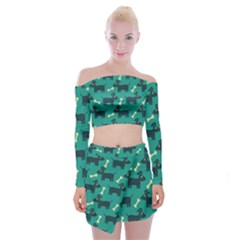 Happy Dogs Animals Pattern Off Shoulder Top With Skirt Set