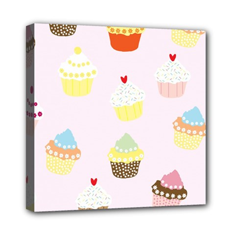 Seamless Cupcakes Wallpaper Pattern Background Mini Canvas 8  x 8