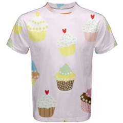 Seamless Cupcakes Wallpaper Pattern Background Men s Cotton Tee