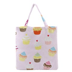 Seamless Cupcakes Wallpaper Pattern Background Grocery Tote Bag