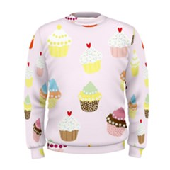 Seamless Cupcakes Wallpaper Pattern Background Men s Sweatshirt
