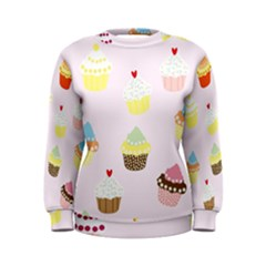 Seamless Cupcakes Wallpaper Pattern Background Women s Sweatshirt