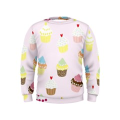 Seamless Cupcakes Wallpaper Pattern Background Kids  Sweatshirt