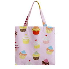 Seamless Cupcakes Wallpaper Pattern Background Zipper Grocery Tote Bag