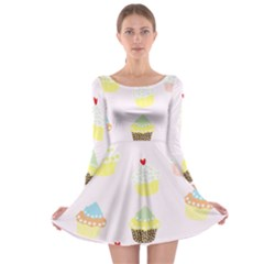 Seamless Cupcakes Wallpaper Pattern Background Long Sleeve Skater Dress