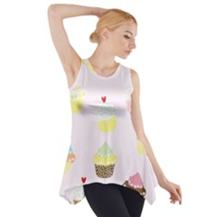 Seamless Cupcakes Wallpaper Pattern Background Side Drop Tank Tunic