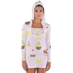 Seamless Cupcakes Wallpaper Pattern Background Women s Long Sleeve Hooded T-shirt