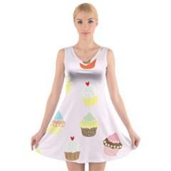 Seamless Cupcakes Wallpaper Pattern Background V Neck Sleeveless Skater Dress