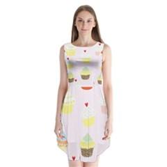 Seamless Cupcakes Wallpaper Pattern Background Sleeveless Chiffon Dress