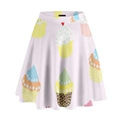 Seamless Cupcakes Wallpaper Pattern Background High Waist Skirt