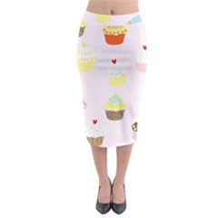 Seamless Cupcakes Wallpaper Pattern Background Midi Pencil Skirt