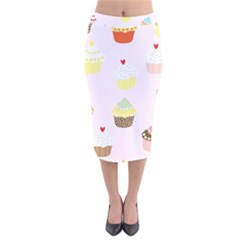 Seamless Cupcakes Wallpaper Pattern Background Velvet Midi Pencil Skirt