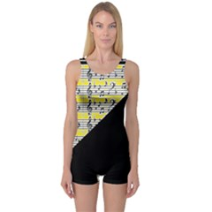 Note Abstract Paintwork One Piece Boyleg Swimsuit