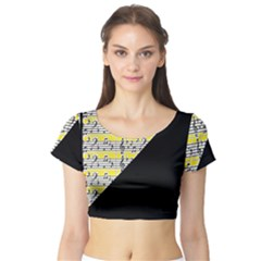 Note Abstract Paintwork Short Sleeve Crop Top (Tight Fit)