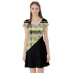 Note Abstract Paintwork Short Sleeve Skater Dress