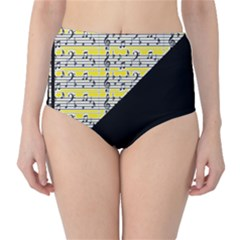 Note Abstract Paintwork High-Waist Bikini Bottoms