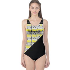 Note Abstract Paintwork One Piece Swimsuit