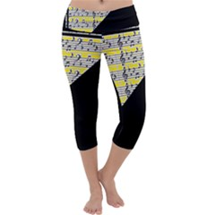 Note Abstract Paintwork Capri Yoga Leggings
