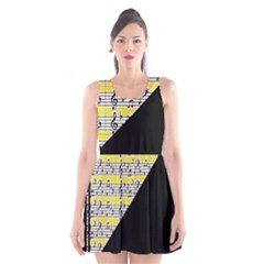 Note Abstract Paintwork Scoop Neck Skater Dress