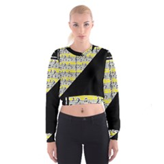 Note Abstract Paintwork Women s Cropped Sweatshirt